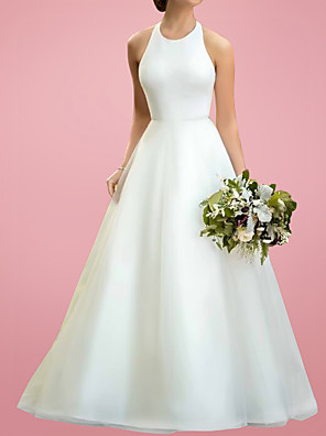 cheap Wedding Dresses-A-Line Wedding Dresses Jewel Neck Floor Length Satin Tulle Sleeveless Simple with 2020