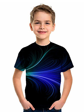 cheap Boys' Tops-Kids Boys' Sports & Outdoors Basic Holiday Color Block Short Sleeve Tee Black