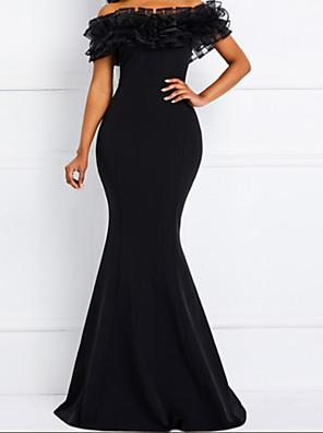 cheap Prom Dresses-Mermaid / Trumpet Elegant Minimalist Party Wear Prom Dress Off Shoulder Short Sleeve Floor Length Satin with Ruffles 2020