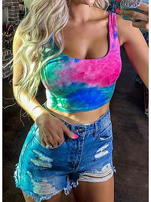 cheap Women's Blouses & Shirts-Women's Tank Top Tie Dye Print Square Neck Tops Basic Summer Rainbow