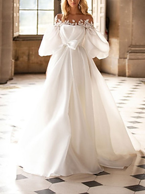 cheap Wedding Dresses-A-Line Wedding Dresses Off Shoulder Court Train Organza Half Sleeve Country with Bow(s) Appliques 2020