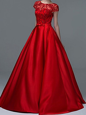 cheap Prom Dresses-A-Line Elegant Beautiful Back Engagement Formal Evening Dress Jewel Neck Short Sleeve Floor Length Lace Satin with Sash / Ribbon Embroidery 2020