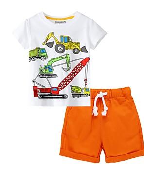 cheap Top Sellers-Kids Boys' Basic Print Short Sleeve Clothing Set Orange