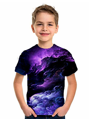 cheap Boys' Tops-Kids Boys' Basic Holiday Geometric Print Short Sleeve Tee Purple
