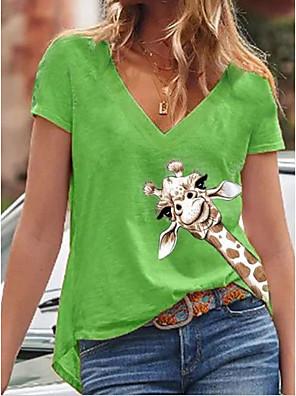 cheap Women's Blouses & Shirts-Women's T-shirt Animal V Neck Tops Blue Yellow Green
