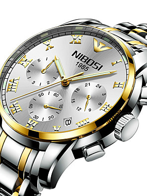 Недорогие Кварцевые часы-NIBOSI Муж. Нержавеющая сталь Кварцевый Спортивные На каждый день Защита от влаги Нержавеющая сталь Черный / Серебристый металл / Золотистый Аналого-цифровые - Белый + синий Черный + Gloden