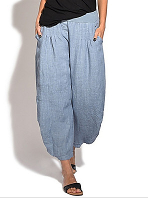 cheap Women's Pants-Women's Basic Loose Wide Leg Pants - Solid Colored Black Blue Green S / M / L