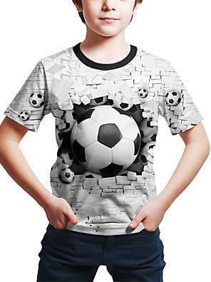cheap Boys' Tops-Kids Toddler Boys' Active Street chic Geometric 3D Print Short Sleeve Tee White