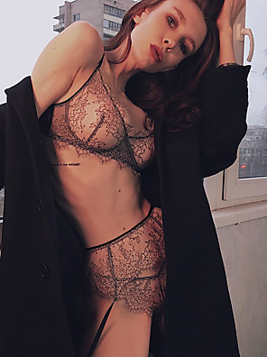 cheap Suits-Women's Lace Matching Bralettes Suits Nightwear Embroidered Black M L XL