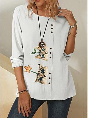 cheap Women's T-shirts-Women's T-shirt Animal Round Neck Tops Summer White Green