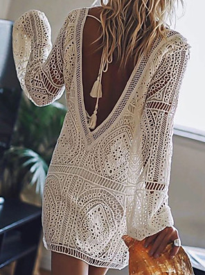 cheap Women's Blouses & Shirts-Women's Short Mini Dress - Long Sleeve Solid Color Lace Backless Summer Deep V Sexy Vacation Beach Lace White Black Red Royal Blue S M L XL XXL