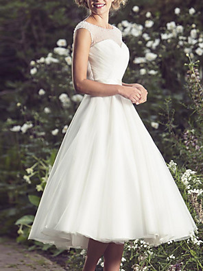 cheap Wedding Dresses-A-Line Wedding Dresses Jewel Neck Knee Length Chiffon Tulle Short Sleeve Vintage 1950s with 2020