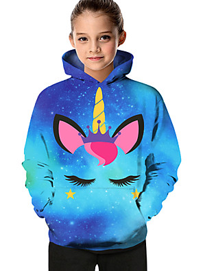 cheap Boys' Tops-Kids Toddler Girls' Active Basic Fantastic Beasts Unicorn Geometric Color Block Print Long Sleeve Hoodie & Sweatshirt Blue