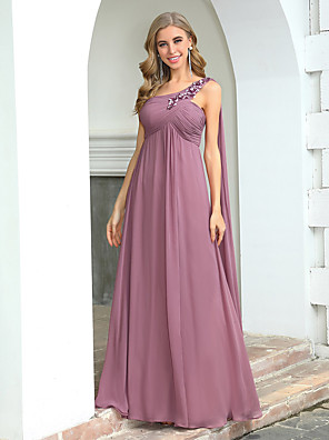 cheap Bridesmaid Dresses-A-Line One Shoulder Floor Length Chiffon Bridesmaid Dress with