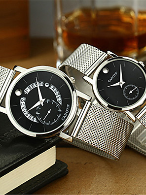 cheap Quartz Watches-Unisex Steel Band Watches Quartz Modern Style Stylish Casual Water Resistant / Waterproof Stainless Steel Analog - Black / Silver White+Silver Black