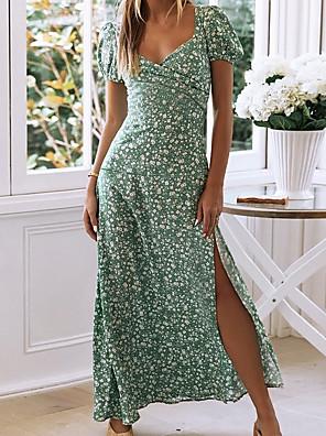 preiswerte Für Junge Frauen-Damen A-Linie Kleid Maxikleid - Kurzarm Blumen Sommer V-Ausschnitt Sexy Baumwolle 2020 Grün S M L XL