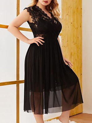 cheap Plus Size Dresses-Women's A-Line Dress Midi Dress - Sleeveless Solid Color Summer Work 2020 Black XL XXL XXXL XXXXL