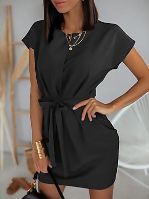 cheap Mini Dresses-Women's A-Line Dress Short Mini Dress - Short Sleeve Solid Color Summer V Neck Work 2020 Black Blushing Pink Brown S M L XL
