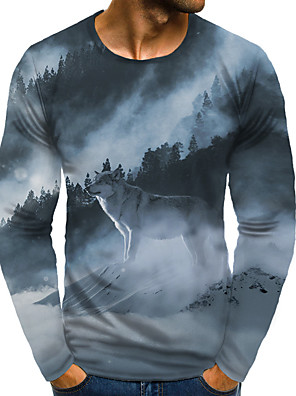 cheap Quartz Watches-Men's Daily Plus Size T-shirt Graphic Animal Print Long Sleeve Tops Basic Exaggerated Round Neck Rainbow