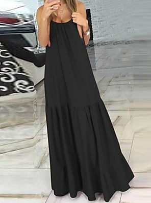 cheap Maxi Dresses-Women's A-Line Dress Maxi long Dress - Sleeveless Solid Color Summer Casual 2020 Black Red S M L XL XXL
