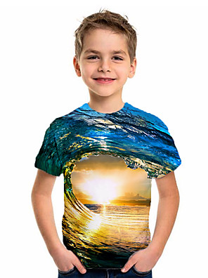 cheap Boys' Tops-Kids Boys' Sports & Outdoors Basic Holiday Geometric Print Short Sleeve Tee Blue