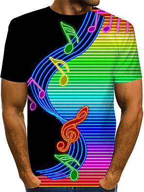 cheap Men's Tees & Tank Tops-Men's Daily T-shirt Graphic Print Short Sleeve Tops Basic Exaggerated Round Neck Rainbow