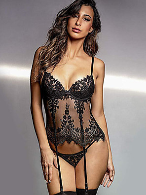 cheap Suits-Women's Lace Mesh Gartered Lingerie Suits Nightwear Jacquard Embroidered Black S M L