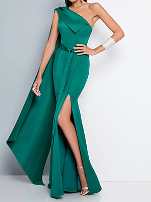 cheap Evening Dresses-Mermaid / Trumpet Beautiful Back Sexy Engagement Formal Evening Dress One Shoulder Sleeveless Floor Length Satin with Sash / Ribbon Split 2020