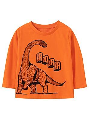 cheap Boys' Tops-Kids Boys' Basic Dinosaur Animal Print Long Sleeve Tee Orange