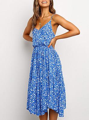 Χαμηλού Κόστους Για νεαρές γυναίκες-Γυναικεία Φόρεμα σε γραμμή Α Μίντι φόρεμα - Αμάνικο Φλοράλ Καλοκαίρι Λαιμόκοψη V Σέξι 2020 Θαλασσί Πράσινο του τριφυλλιού Τ M L XL XXL