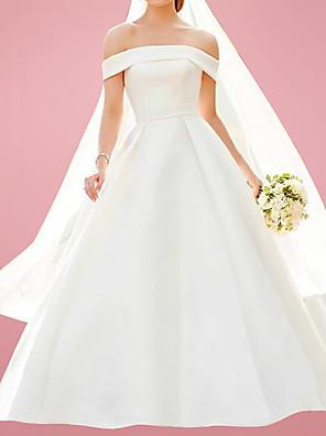 cheap Wedding Dresses-A-Line Wedding Dresses Off Shoulder Floor Length Satin Sleeveless Formal with 2020