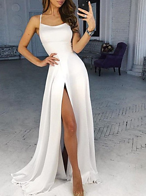 cheap Evening Dresses-A-Line Wedding Dresses Spaghetti Strap Sweep / Brush Train Chiffon Over Satin Sleeveless Beach Sexy with 2020