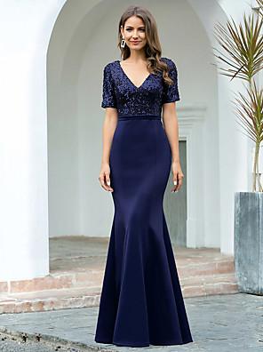 cheap Evening Dresses-Mermaid / Trumpet Elegant Glittering Engagement Formal Evening Dress V Neck Short Sleeve Floor Length Spandex with Sequin 2020