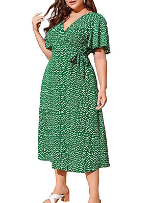 cheap Plus Size Dresses-Women's A-Line Dress Midi Dress - Half Sleeve Polka Dot Summer Work 2020 Black Green Navy Blue XL XXL XXXL XXXXL