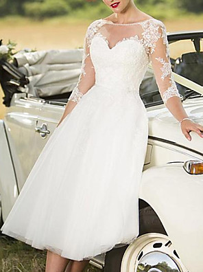 cheap Wedding Dresses-A-Line Wedding Dresses Jewel Neck Knee Length Lace Tulle Long Sleeve Vintage 1950s with Appliques 2020
