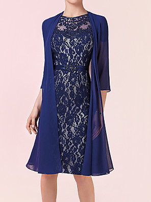 cheap Evening Dresses-Two Piece Sheath / Column Mother of the Bride Dress Elegant Jewel Neck Knee Length Chiffon Lace 3/4 Length Sleeve with Sash / Ribbon Appliques 2020