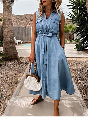 Χαμηλού Κόστους Για νεαρές γυναίκες-Γυναικεία Φόρεμα τζιν πουκάμισο Μίντι φόρεμα - Αμάνικο Συμπαγές Χρώμα Καλοκαίρι Κολάρο Πουκαμίσου Καθημερινό Βαμβάκι 2020 Μπλε Απαλό Τ M L XL