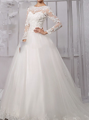 cheap Wedding Dresses-Ball Gown Wedding Dresses Jewel Neck Sweep / Brush Train Lace Tulle Long Sleeve Formal with Appliques 2020