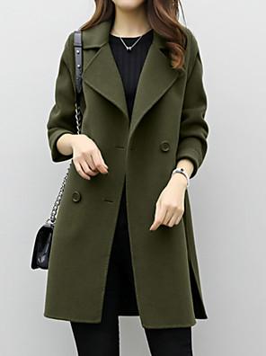 cheap Women's Coats & Trench Coats-Women's Coat Daily Basic Long Solid Colored Black / Khaki / Green S / M / L