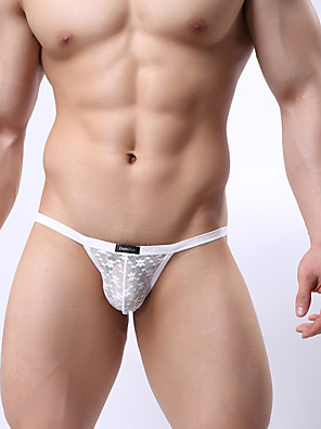 cheap Men's Exotic Underwear-Men's Mesh G-string Underwear Low Waist White Black Yellow M L XL