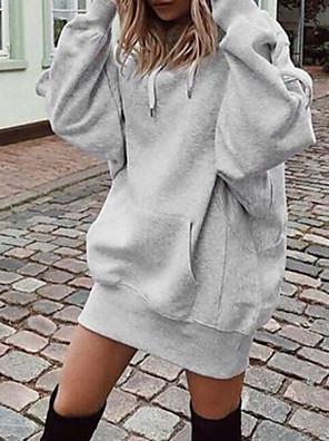 cheap Oversize Sweater-Women's Hoodie Solid Colored Casual Hoodies Sweatshirts  Loose Wine Black Gray