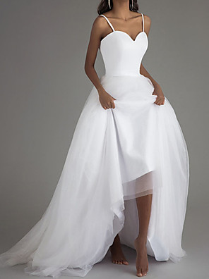 cheap Wedding Dresses-A-Line Wedding Dresses Sweetheart Neckline Court Train Satin Tulle Sleeveless Simple Beach with 2020
