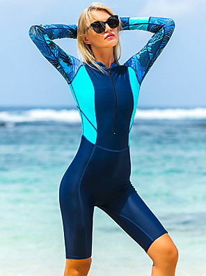 cheap Wetsuits, Diving Suits & Rash Guard Shirts-Women's One Piece Swimsuit Elastane Bodysuit UV Sun Protection Breathable Quick Dry Long Sleeve Front Zip - Swimming Diving Water Sports Patchwork Autumn / Fall Spring Summer / Stretchy