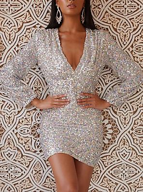 cheap Party Dresses-Women's Sheath Dress Short Mini Dress - Long Sleeve Solid Color Print Summer V Neck Sexy Daily Slim 2020 Silver S M L XL XXL