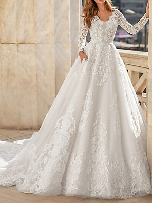 cheap Wedding Dresses-A-Line Wedding Dresses Jewel Neck Court Train Lace Long Sleeve Vintage Illusion Sleeve with Buttons Appliques 2020