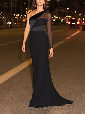 cheap Evening Dresses-Sheath / Column Color Block Elegant Engagement Formal Evening Dress One Shoulder Long Sleeve Sweep / Brush Train Chiffon with Sleek 2020 / Illusion Sleeve