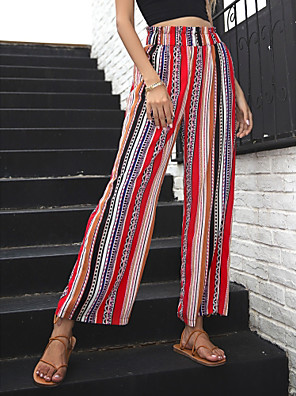 cheap Maxi Dresses-Women's Chinos Pants - Striped Red XS / S / M
