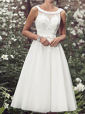 cheap Prom Dresses-A-Line Wedding Dresses Jewel Neck Knee Length Lace Tulle Sleeveless Vintage with Sashes / Ribbons Appliques 2020