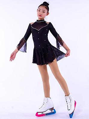 cheap Ice Skating Dresses , Pants & Jackets-Figure Skating Dress Girls' Ice Skating Dress Black Spandex High Elasticity Training Competition Skating Wear Crystal / Rhinestone Long Sleeve Figure Skating / Kids