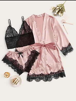 cheap Sexy Bodies-Women's Lace Bow Robes Suits Nightwear Patchwork Embroidered Purple / Blushing Pink S M L